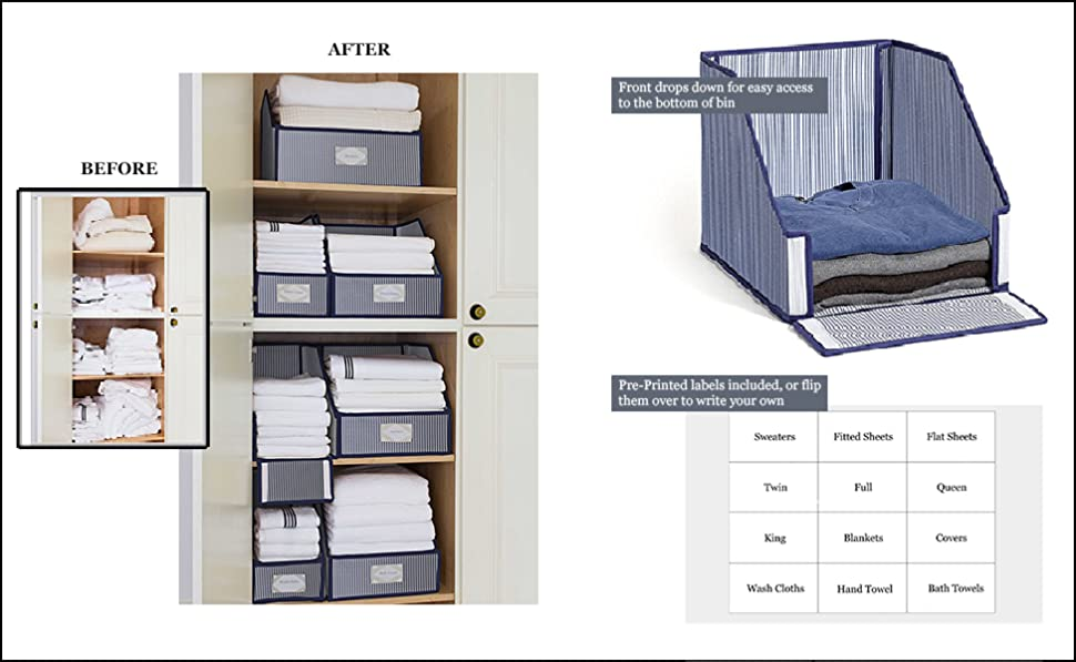 G.U.S. Striped Linen Closet Storage: Organize Sheets, Blankets, Towels,  Wash Cloths, Sweaters And Other Closet Storage