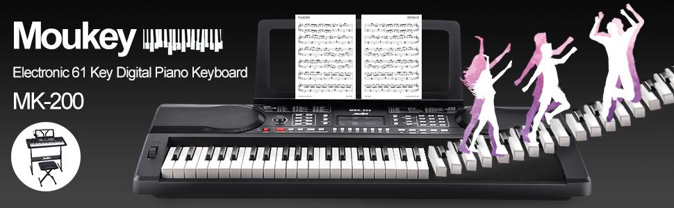 Amazon Moukey Mek 200 61 Key Electric Keyboard Portable