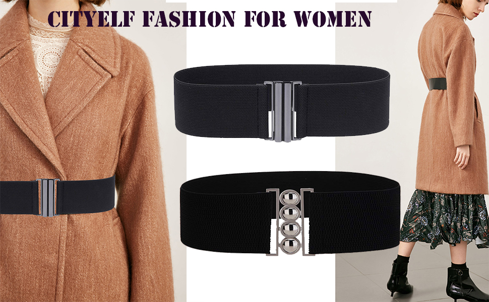 Women Dressy Fun Black Glitter Wide Shiny Belt Retro Waistband Stretchy Fits M l