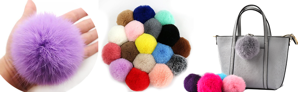 PomPom Keyring Neon Colours Wool Metal Clip Unique Pom Pom Home Gift Accessory