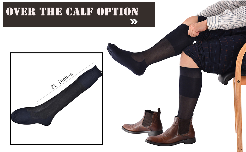250de879da5 Amazon.com  Mens Thin Socks Silk Sheer Trouser Sox Mid-Calf Over the ...