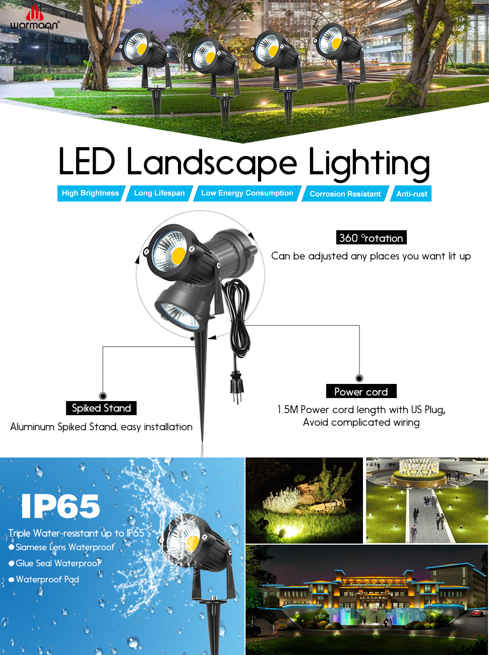 Warmoon Outdoor Led Landscape Spotlight Waterproof Warm White Line Wiring Lights May Light Up Your World