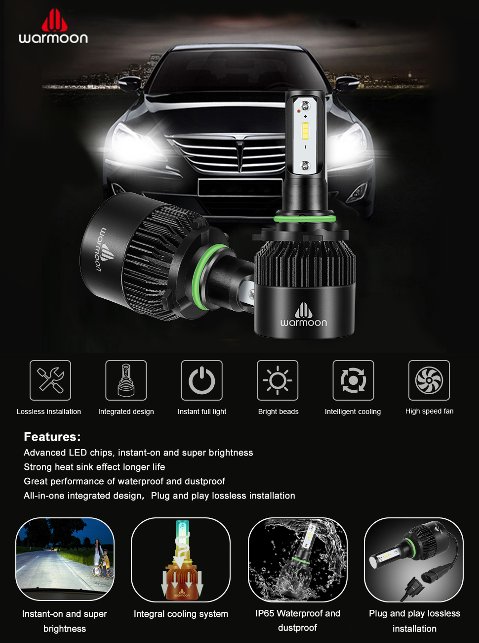 Amazon Com Warmoon 9006 Led Headlight Bulbs 36w Extremely