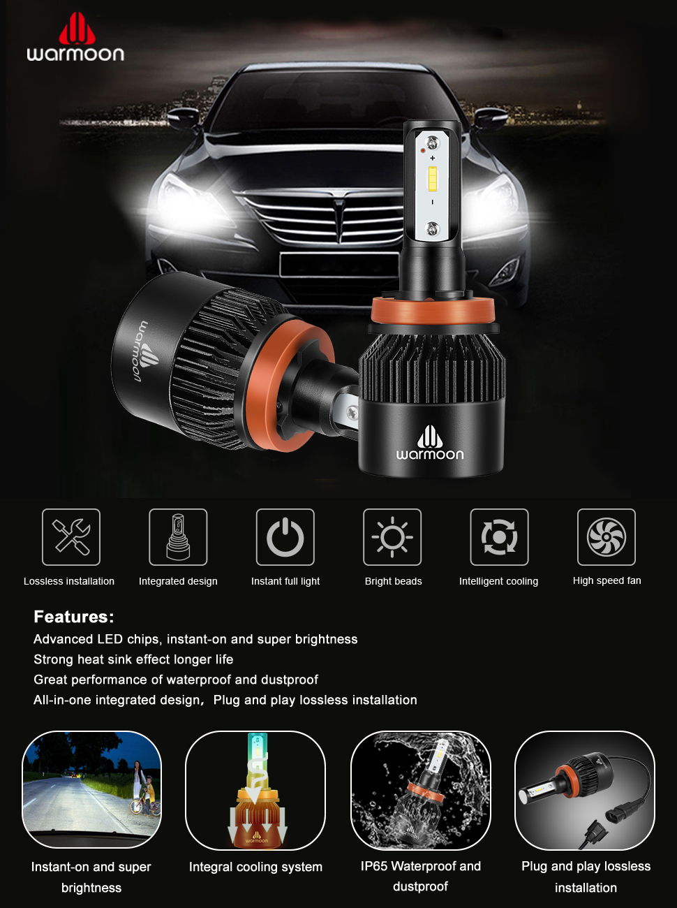 Warmoon H11 H8 H9 Led Headlight Bulbs Conversion Kit 36w Exciting Scout Crafts 1 Or 2 Headlamp Bulb