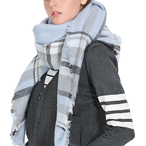 Chic blue plaid blanket scarf