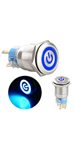 Tokenhigh 5x DC 12V//24V Metal Latching Push Button Switch 4 Pin Car RV Truck Boat SPDT ON//OFF Switch Waterproof Self-Locking Round Marine Switch with Blue LED Light for 16mm 1//2 Mounting Hole