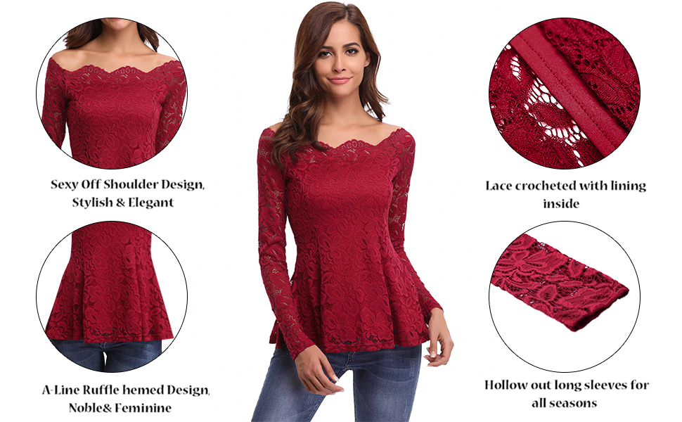 6018c3d4ea7f8 iClosam Women Sexy Off Shoulder A-line Long Sleeve Floral Lace Shirt ...