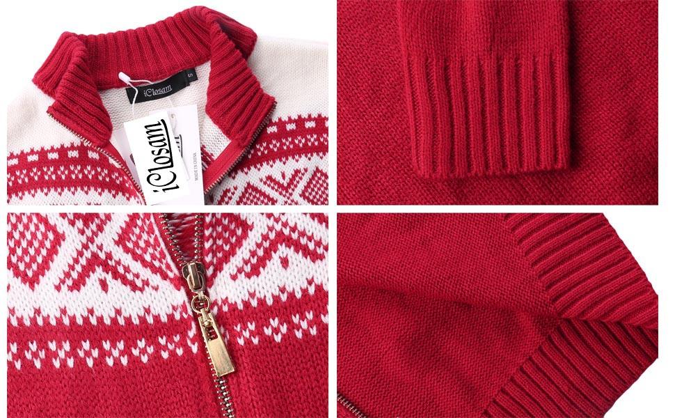 5012a774830b0 iClosam Women Christmas Sweater Open Front Cardigan Zip Knit Ugly ...