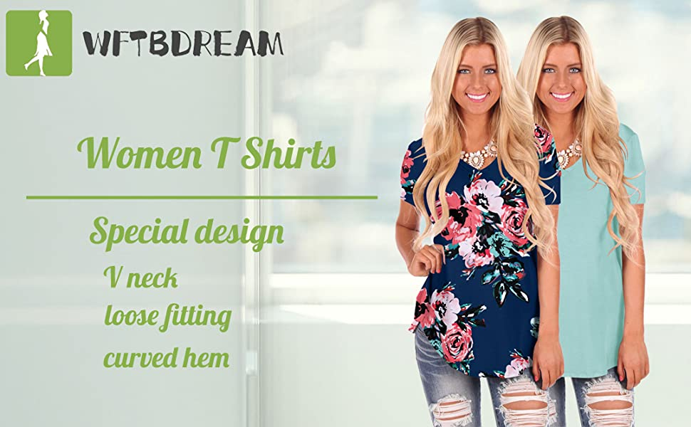 3a464ace98091 WFTBDREAM Womens Casual Curved Hem Long Sleeve T Shirt V Neck Side Slit  Blouse