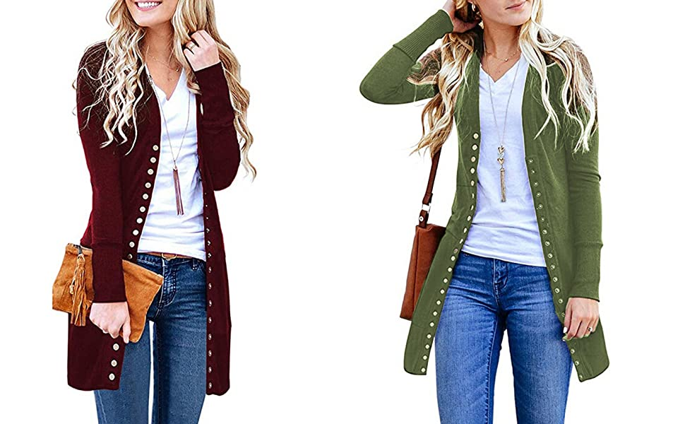 Womens Low Cut Knit V-Neck Snap Button Down Cardigan Coats Long Sleeve Sweater