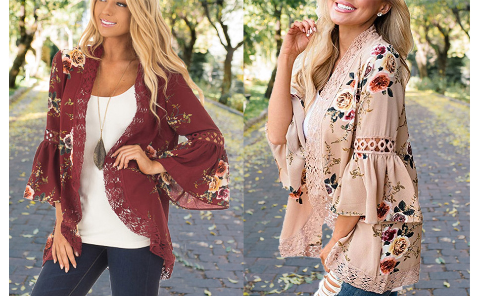 0c3b78aca2 Halife Womens Floral Print Loose Puff Sleeve Kimono Cardigan Lace Patchwork Cover  up Blouse