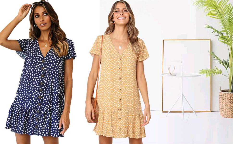 Womens Short T-Shirt Dress Polka Dot V Neck Short Sleeve Casual Button Down Mini Dress Ruffles Party Dress