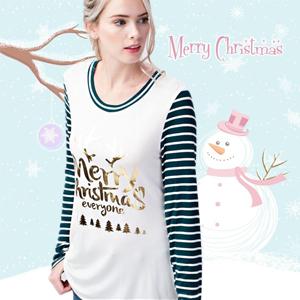 5768ae5293893 Halife Womens Christmas Letter Print Stripe Long Sleeve T-Shirts ...