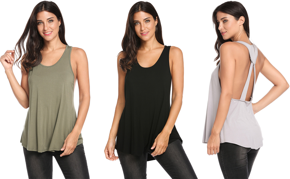 5578c44f74 Halife Womens Sexy Backless Stretchy Open Back Top Knotted Back Sport Shirt