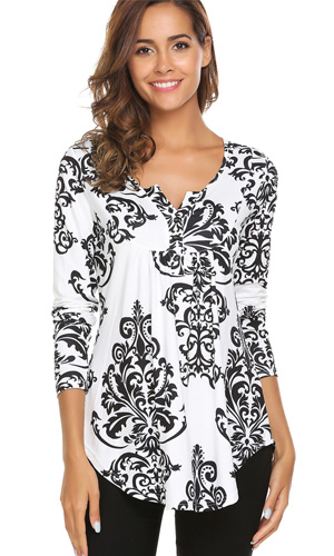 5ddc5a57975 Women s Paisley Printed Long Sleeve Henley V Neck Pleated Casual ...