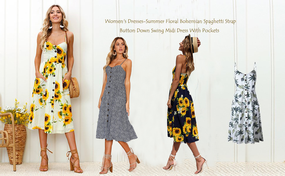 Halife Women\'s Summer Floral Print Strap Casual Button Midi Dress ...