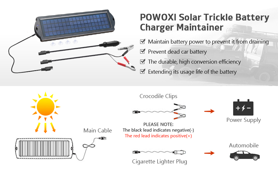 POWOXI 3.5W 12V Solar Trickle Charger for Car Battery High Conversion Single Crystal Silicon Solar Panel car Battery Charger for Motorcycle Boat 3.5w Solar Chargers-Black Portable and Waterproof