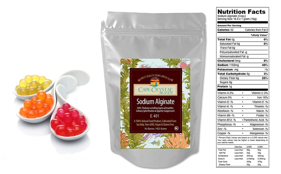 Sodium Alginate in Powder Form - 16 oz / 453 6 g - Food Grade Thickening  Agent - For Chefs and