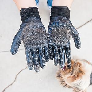 grooming cat dog gloves horse massage gloves desheeding soft rounded nubs adjustable wrist strap