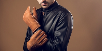 men leather gloves winter ugg shearling mittens black brown warm wool lined driving sales deal