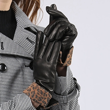 womens leather gloves winter black driving