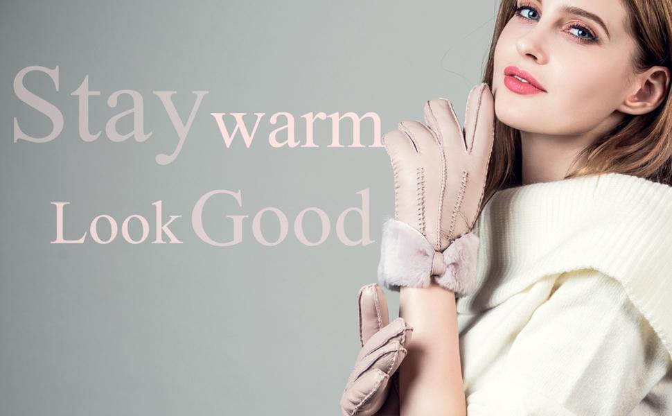 leather gloves women winter sheepskin mittens real dress genuine sales deal driving
