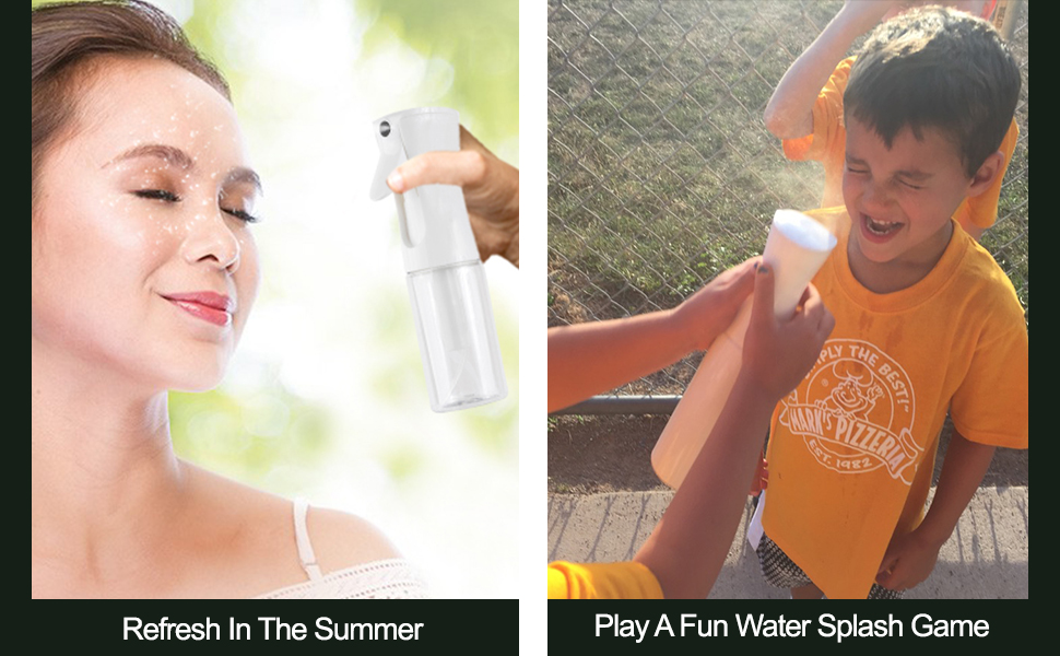 Clear glass spray bottlecan be used to refresh in summers or playing a fun game