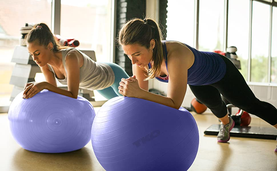 TKO Anti Burst Fitness Stability Ball To Strengthen And Tone with Pump and  Instruction Chart Included