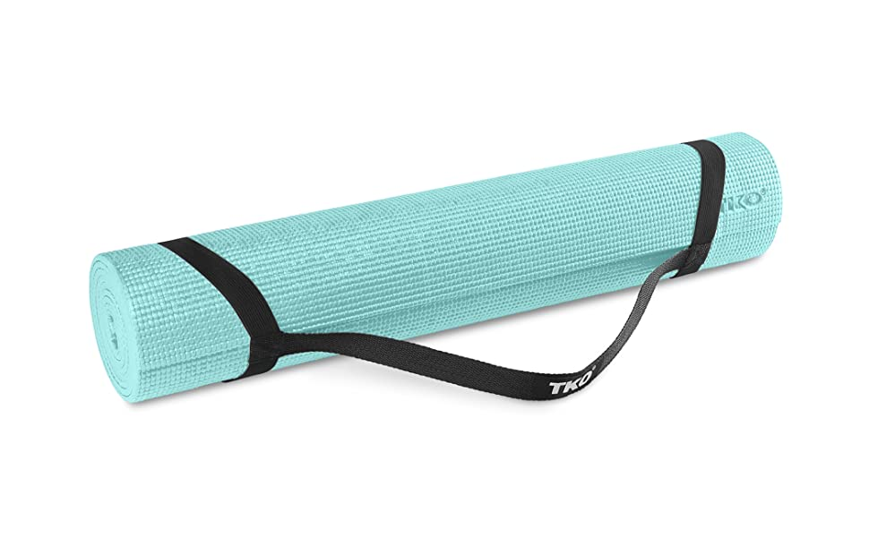 TKO Essential Yoga and Pilates Exercise Gym Mat with Carrying Strap