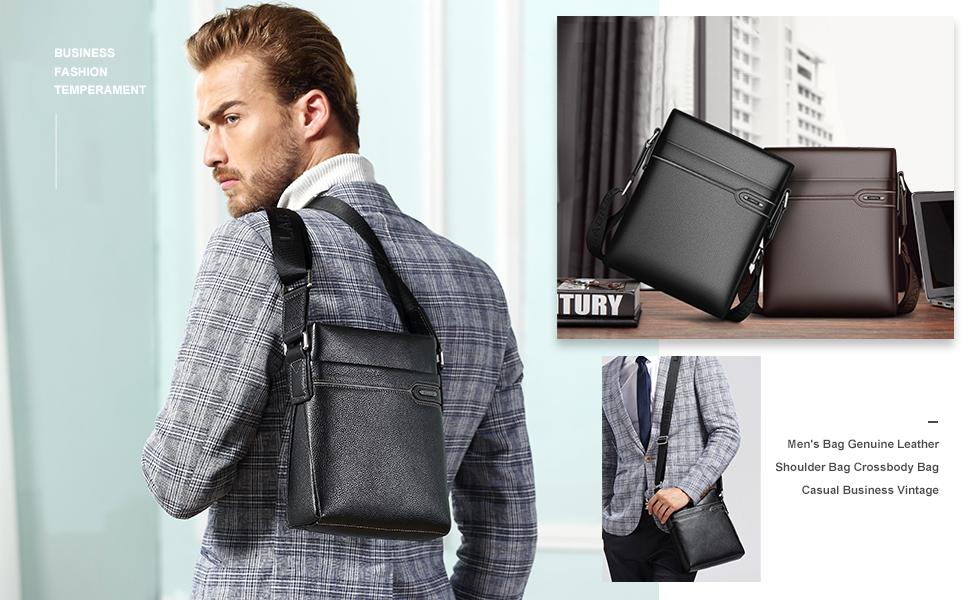 Men/'s Genuine Leather Business Briefcase Crossbody Belt Shoulder Bags