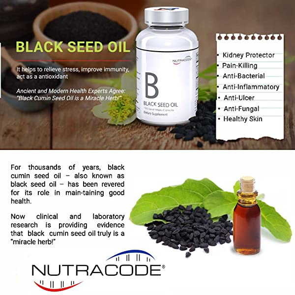 Nutracode® Black Cumin Seed Oil 500 mg Capsules - Pack of 6 bottles