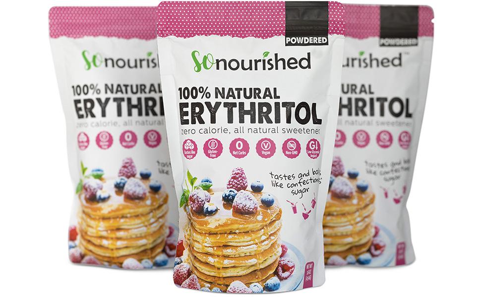 Powdered erythritol sweetener