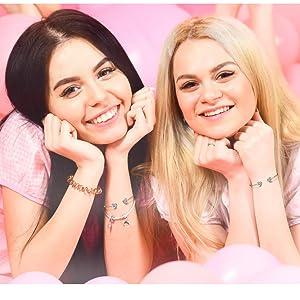 best sisters open cuff bangle bracelets 14k gold plated minimalism statement meaningful girls teens