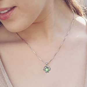 green moonstone sterling silver pendant necklace charm healing gemstone holiday gift love heart