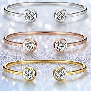 rose gold yellow white 3 colorful cubic zirconia crystal bangle cuff bracelets jewelry set fashion