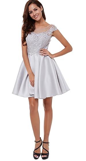 CLOCOLOR Womens Satin Cap Sleeve A Line Lace Applique Short Homecoming Party Dress