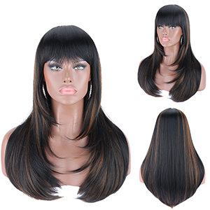 Kalyss Heat Resistant Yaki Synthetic Wig with Hair Bangs Long Straight Layered Black Wigs