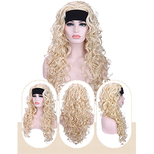 ong 3/4 half curly wavy 613 platinum blonde synthetic full head wigs for women