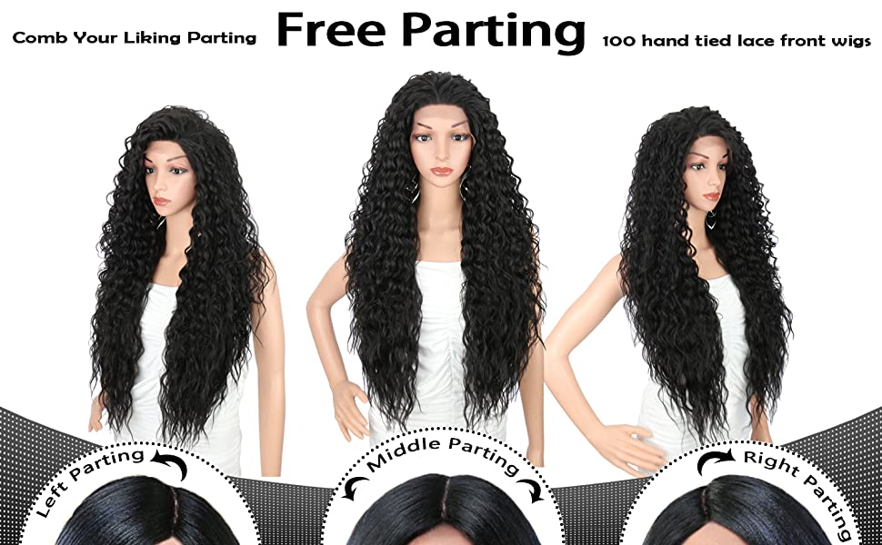 lace frontal wigs with baby hair black color deep curly wigs for black women