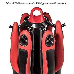Premium Kitchen Set Includes 360 Rotating Utensil Holder Plus 6  Most Often Used Kitchen Utensils