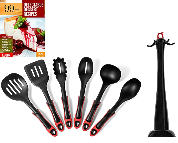 Raised Utensil Heads Keep Germs Away With Built In Stand! Recipe EBook And  Rotating Utensil Holder For 6 Utensils Included
