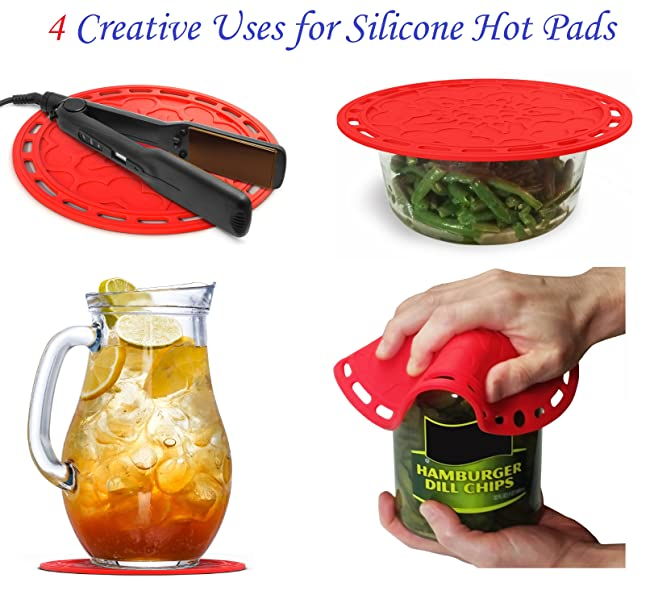 Multi Purpose Silicone Hot Pads, Decorative Trivets, Oven Mitt, Jar Opener,  Splash Guard, Microwave Cover And More!!
