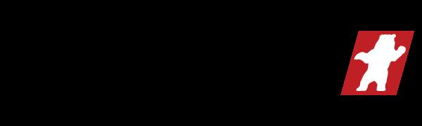 Kodiak Logo with Bold Black Text with Red and White Kodiak Bear Symbol