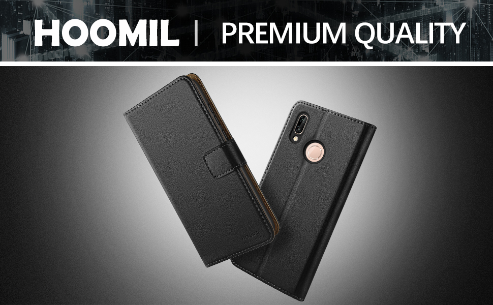 Huawei P20 Case,Premium Leather Flip Wallet Phone Case Cover (Black)