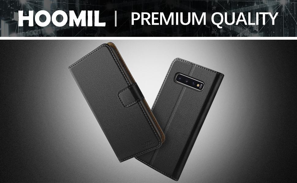 1Samsung Galaxy S10 Plus Case,Premium Leather Flip Wallet Phone Case Cover (Black)