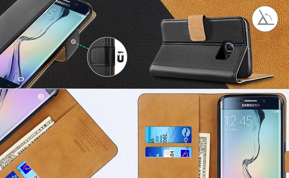 Samsung Galaxy S6 Edge Case,Premium Leather Flip Wallet Phone Case Cover