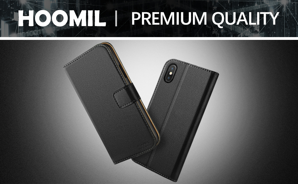 iPhone X / XS Case  ,Premium Leather Flip Wallet Phone Case Cover (Black)