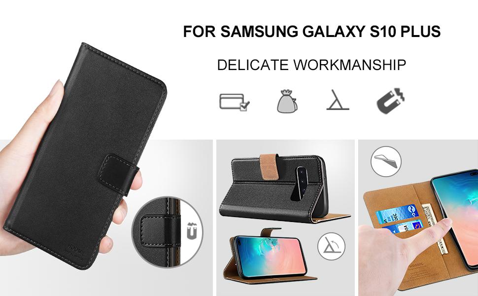 Samsung Galaxy S10 Plus Case,Premium Leather Flip Wallet Phone Case Cover