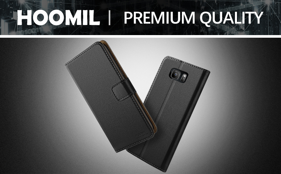 Samsung Galaxy S7 Case,Premium Leather Flip Wallet Phone Case Cover (Black)
