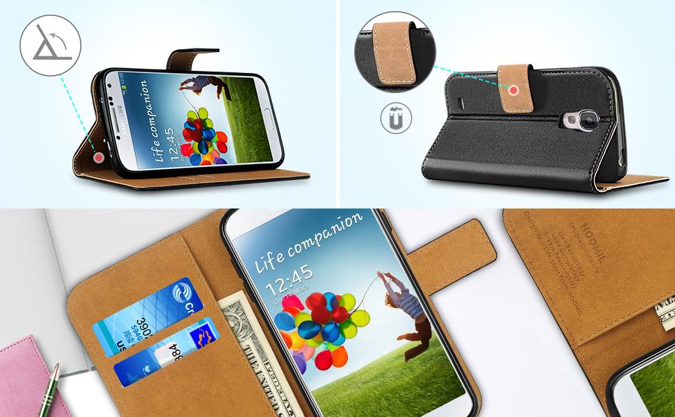 Samsung Galaxy S4 Case,Premium Leather Flip Wallet Phone Case Cover (Black)